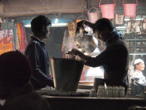 Making tea in Old Delhi